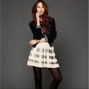 Free People Sparkle and Stripe Skirt Size XS NWT